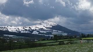 Sugar Loaf in early April 19, from Bwlch Trewyn