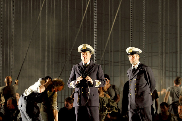 Toby Spence as Captain Edward Fairfax Vere and Thomas Oliemans as Mr Redburn in Billy Budd, The Royal Opera © 2019 ROH. Photograph by Catherine Ashmore
