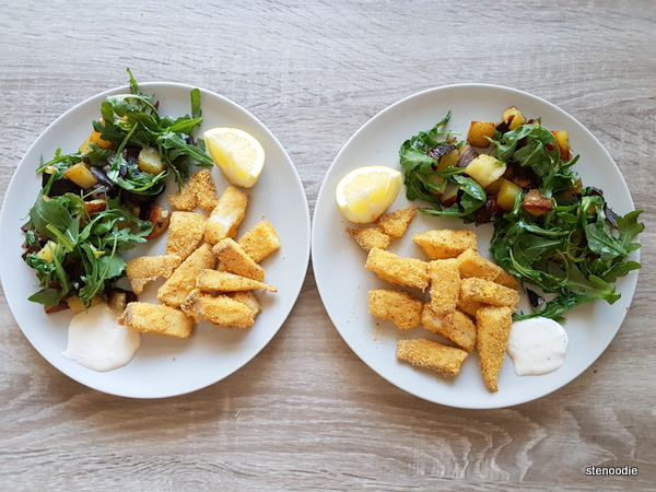 Oven baked fish fingers with salads