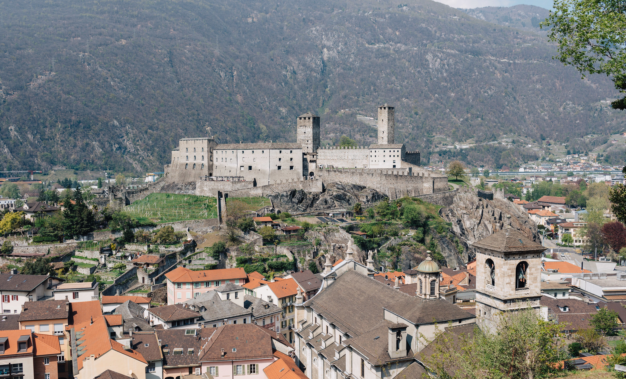 Looking at Castelgrande from Montebello Castle