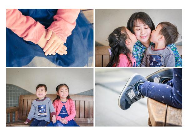 子ども達がママの頬にキス 家族写真のロケーション撮影