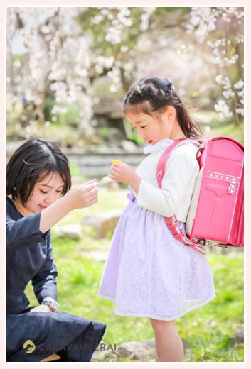 桜の咲く公園で小学校入学記念写真の出張撮影