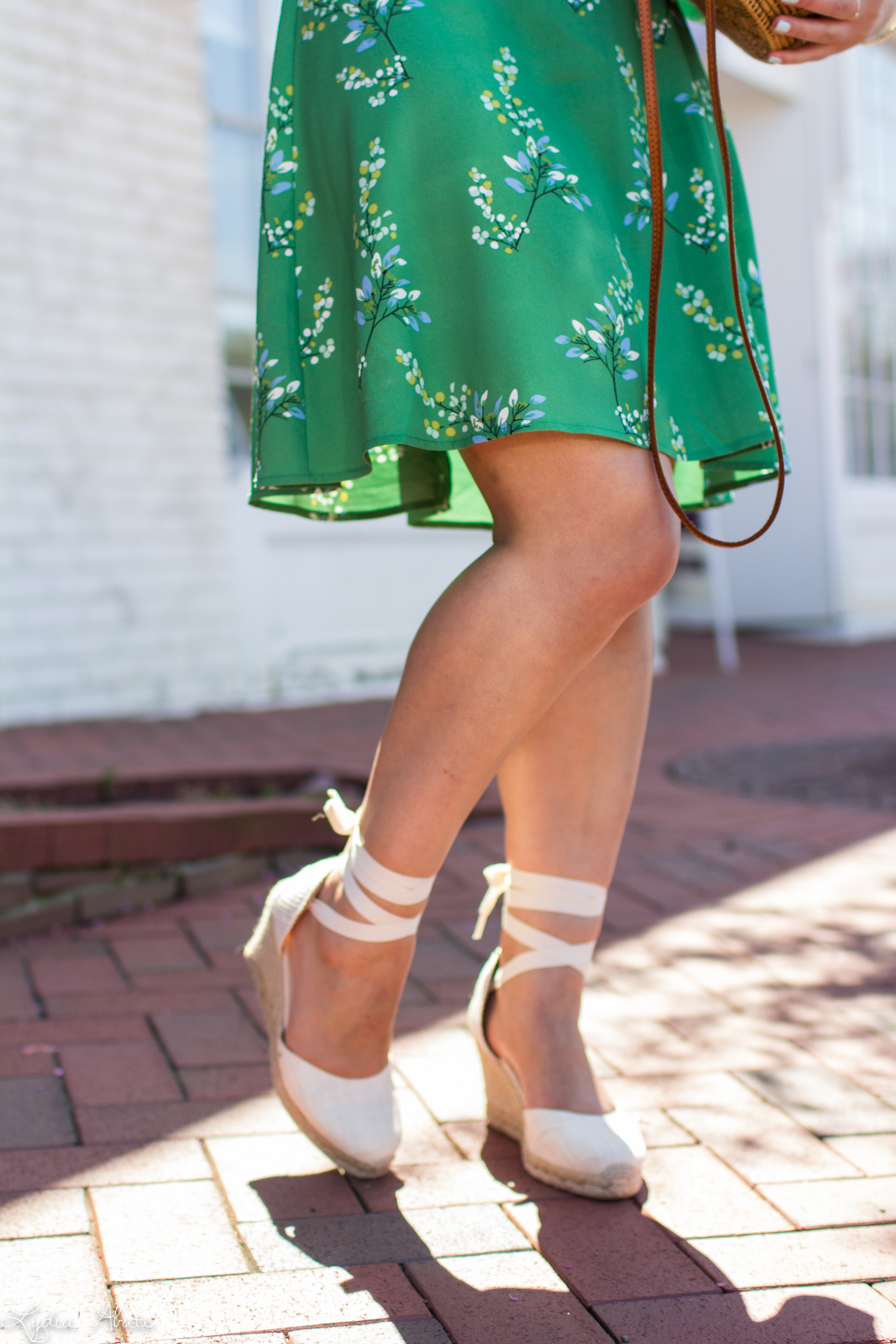 green floral dress, white espadrilles, round rattan bag -15.jpg