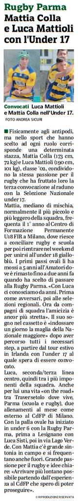Gazzetta di Parma - Colla e Mattioli con l'under 17