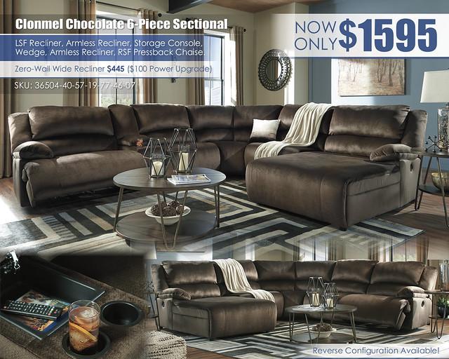 Clonmel Chocolate 6 Piece Sectional_36504