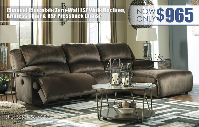 Clonmel Chocolate Zero Wall Wide Recliner - Armless Chair - & RSF Chaise_36504-58-46-97-T395