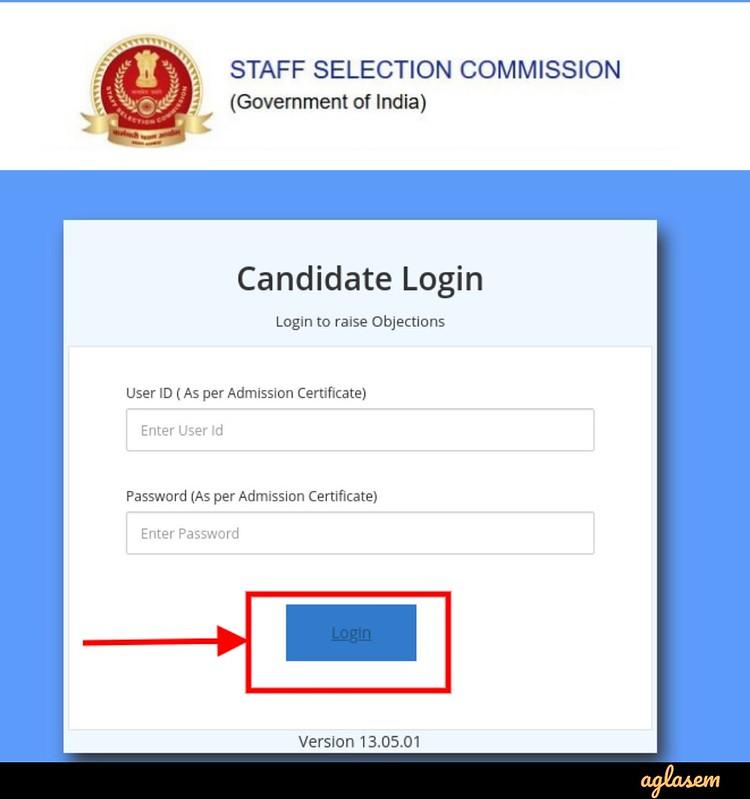 SSC CPO Answer Key 2019 - login page