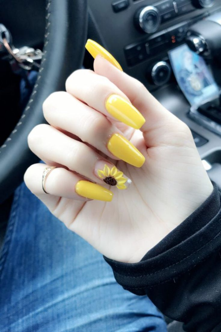 Sunflower Nail Design Acrylic Nails | Acrylic Nail Designs To Rock This Spring | short acrylic nails designs