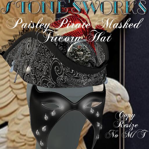 Paisley Black Tricorn Masked Hat Stone's Works