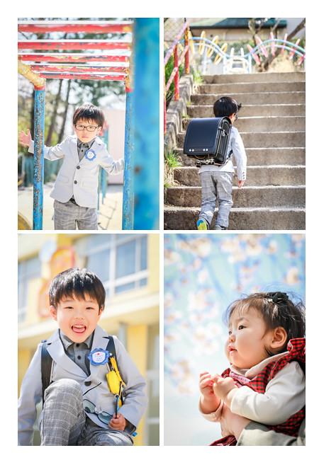 新一年生の男の子 小学校の校庭で記念写真を出張撮影