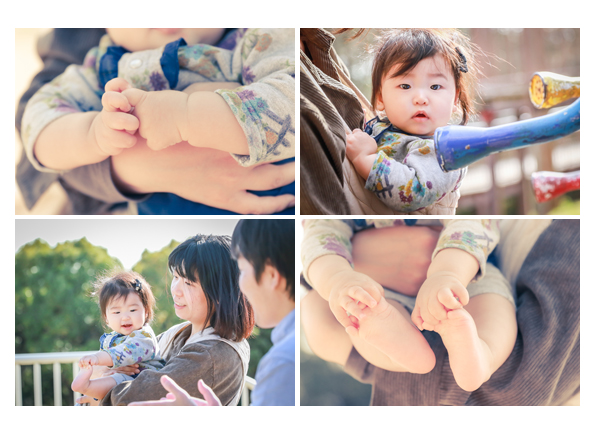 女の子赤ちゃんとファミリーフォト 手と足のアップ写真