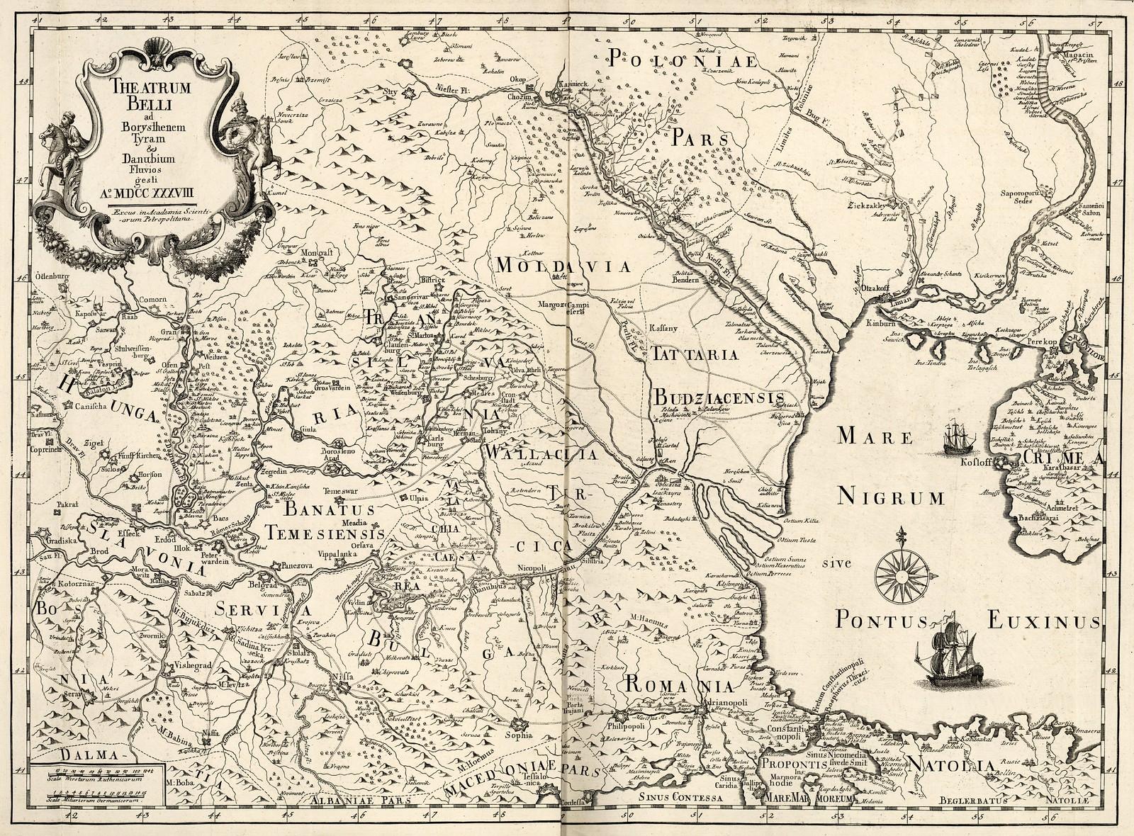 1738. Реки Днестр и Дунай на карте театра военных действий до Днепра включительно во время войны между Россией и Турцией