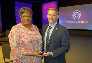 Wed, 2019-04-24 07:12 - Pictured left to right: 'Women Vision S.C.' award recipient Pastor Nannie Jefferies and SCETV President and CEO Anthony Padgett.