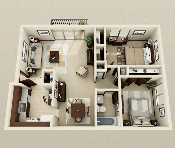 Admirable 50 Two 2 Bedroom Apartment House Plans Via Wordpress Bit Interior Design Ideas Gentotryabchikinfo