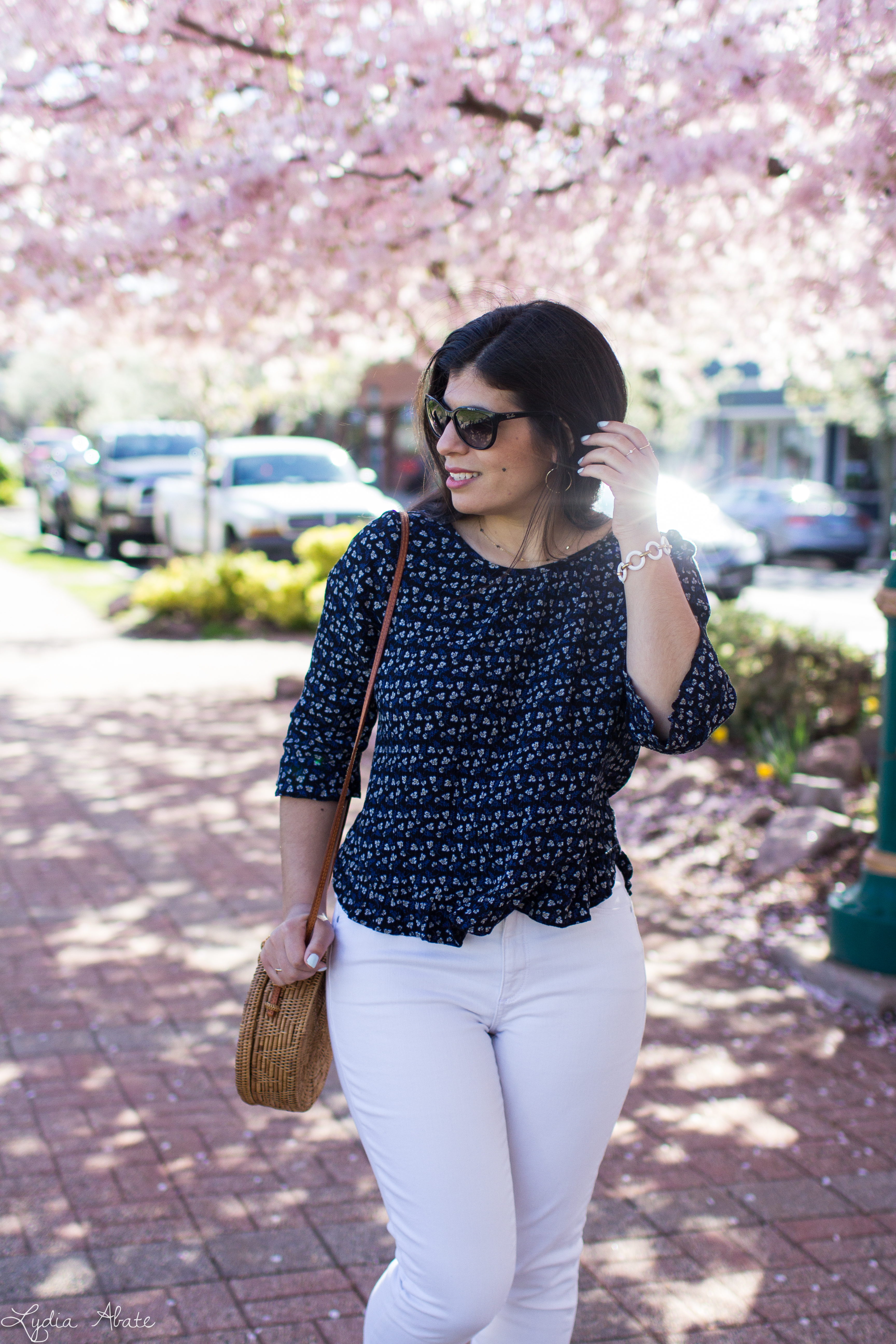 navy floral blouse, white jeans, mules, round rattan bag-7.jpg