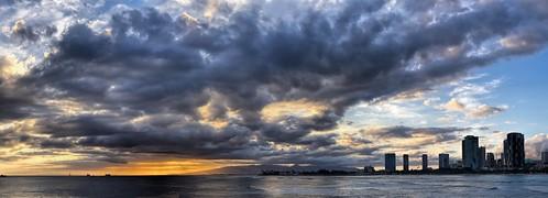 iphone8 magicisland honolulu hawaii sky sunset water ocean oahu clouds buildings