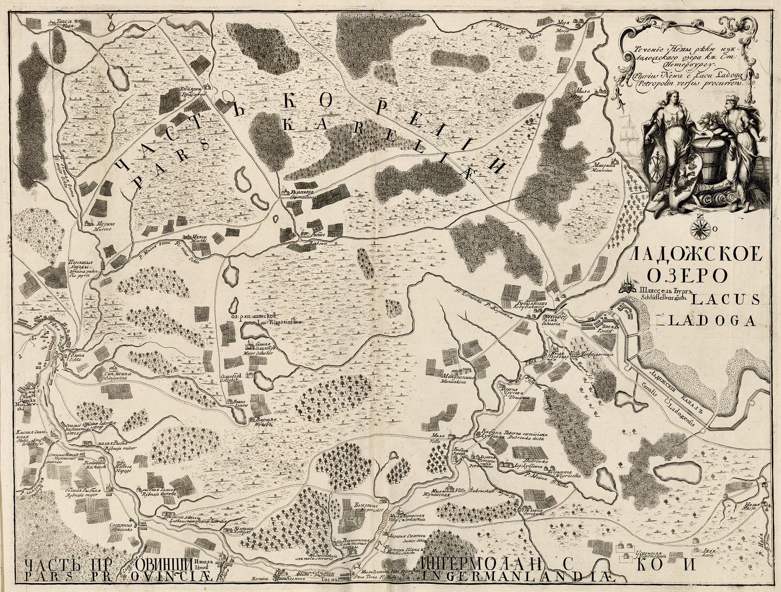 1730-1750. Течение Невы реки из Ладожского озера к Ст. Петербургу