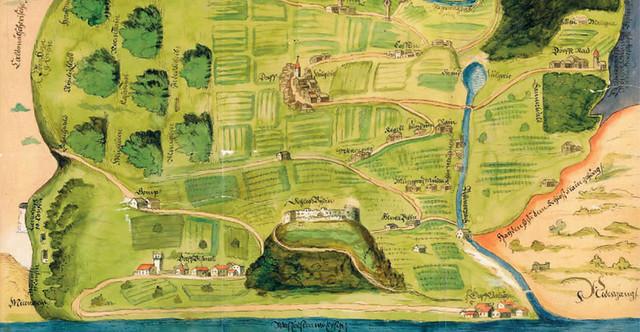 Mappa castel Beseno e il circondario di Folgaria, 1601 - particolare - Fonte: Archivio di Stato di Trento
