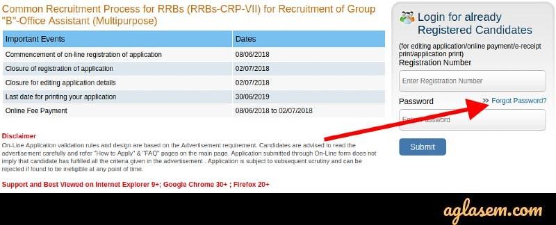 IBPS RRB Password Retrieval
