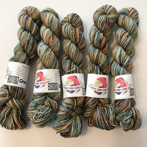 Our special Koigu LYS Day colour is the Great Lakes colourway in a speckle, inspired by a mix of the colours of the water and the stunning aspects of fall.