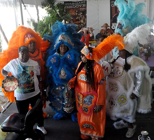 Big Chief Hatchet and Wild Apache in the WWOZ Hospitality Tent at Jazz Fest