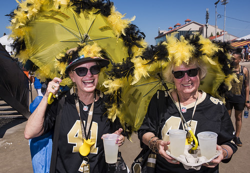 Saints fans Janet Larue and Barbara Hammett at Jazz Fest day 2 on April 26, 2019. Photo by Ryan Hodgson-Rigsbee RHRphoto.com