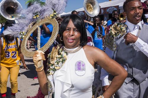 Big Nine Social Aid & Pleasure Club parade at Jazz Fest day 2 on April 26, 2019. Photo by Ryan Hodgson-Rigsbee RHRphoto.com