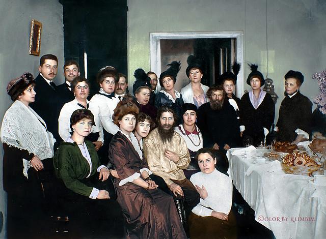 Rasputin surrounded by his admirers in St. Petersburg, 1914  | Распутин с поклонниками, 1914