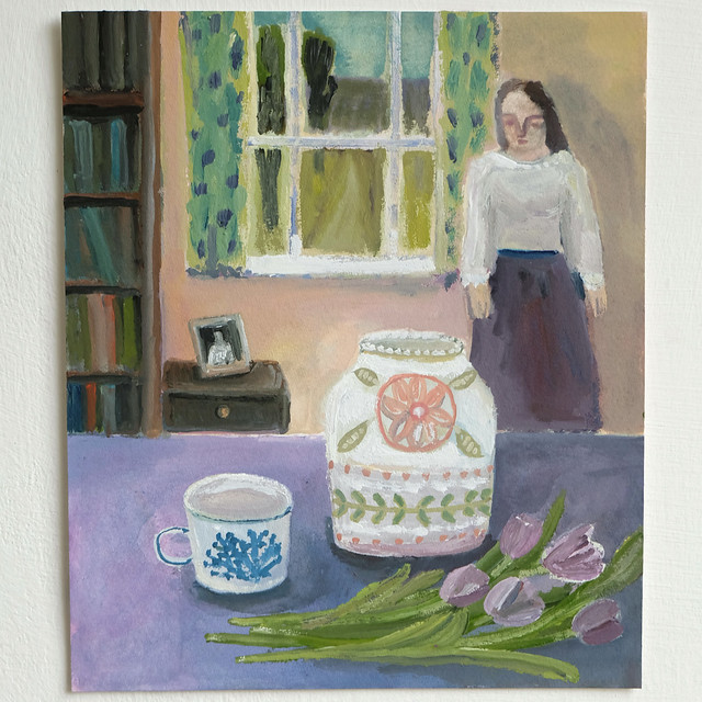 a jar for violet tulips (figure in interior)