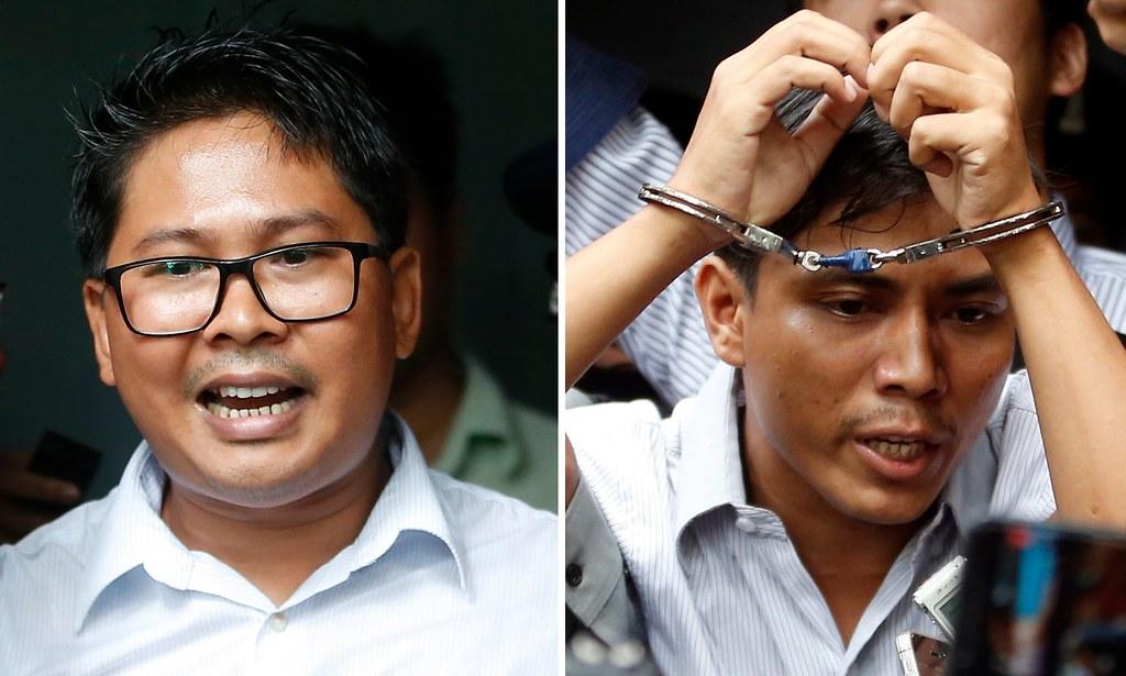 因調查羅興雅人屠殺案而被判處七年徒刑的記者瓦隆(左)和喬索歐。(圖片來源:Lynn Bo Bo/EPA)