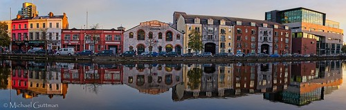 cork ireland riverlee unionquay river sunset glass mirror buildings hightide calmwinds panorama pano