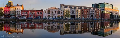cork ireland riverlee unionquay river sunset glass mirror buildings hightide calmwinds panorama pano