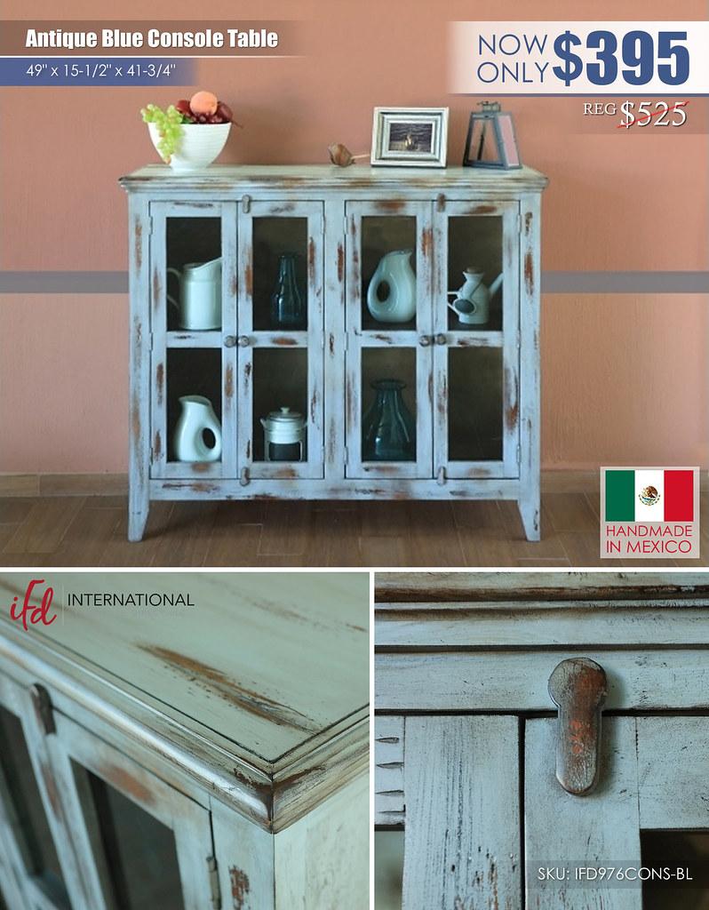 Antique Blue Console Table_IFD976CONS-BL