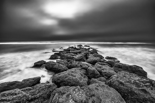 rock usa landscape nature water surf ©edrosack lowlight florida lights longexposure beach ocean monochrome cloud sky seascape staugustine marinelandbeach bw blackandwhite cloudy grayscale shore palmcoast