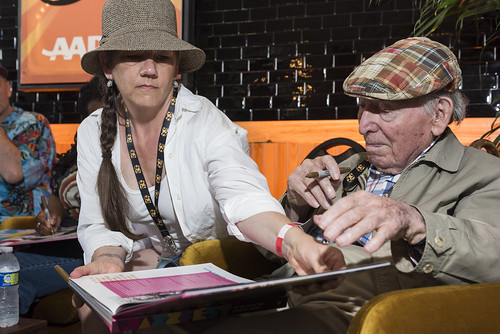 Rachel Lyons and George Wein on Jazz Fest day 3 on April 27, 2019. Photo by Ryan Hodgson-Rigsbee RHRphoto.com