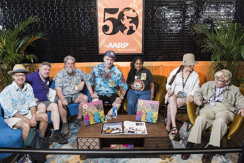 A large part of the Smithsonian Folkways Jazz Fest 50 box set team in the AARP Rhythmpourium: Keith Spera, Dave Ankers, Jeff Place, Huib Schippers, Karen Celestan, Rachel Lyons, George Wein at Jazz Fest day 3 on April 27, 2019. Photo by Ryan Hodgson-Rigsb