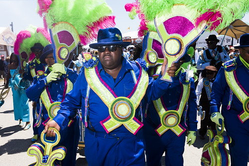 High Steppers Brass Band with Divine Ladies, Dumaine St. Gang and Family Ties SA& PC at Jazz Fest day 3 on April 27, 2019. Photo by Ryan Hodgson-Rigsbee RHRphoto.com