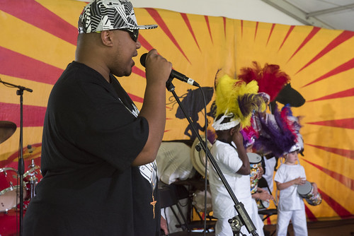 Brian Harrison with Young Guardian s of the Flame at the Kids Tent during Jazz Fest day 3 on April 27, 2019. Photo by Ryan Hodgson-Rigsbee RHRphoto.com