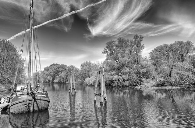 Moored in the calm water