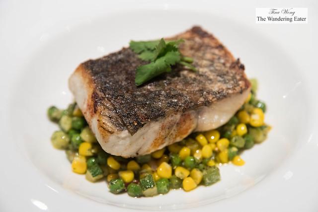Grilled sea bass, chimichurri, succotash