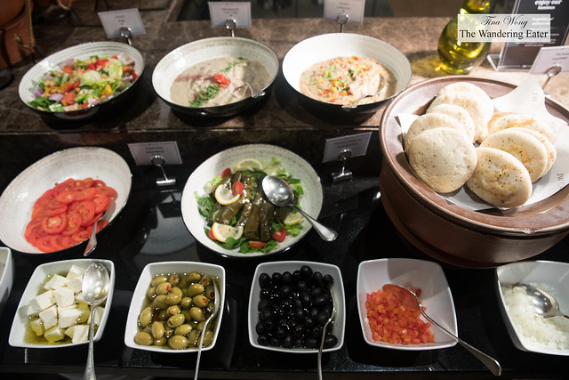 Mezze station at the JW Cafe during breakfast