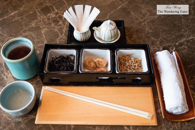 Assortment of Japanese style pickles, hojicha tea and a shio tea during breakfast at Yamazato