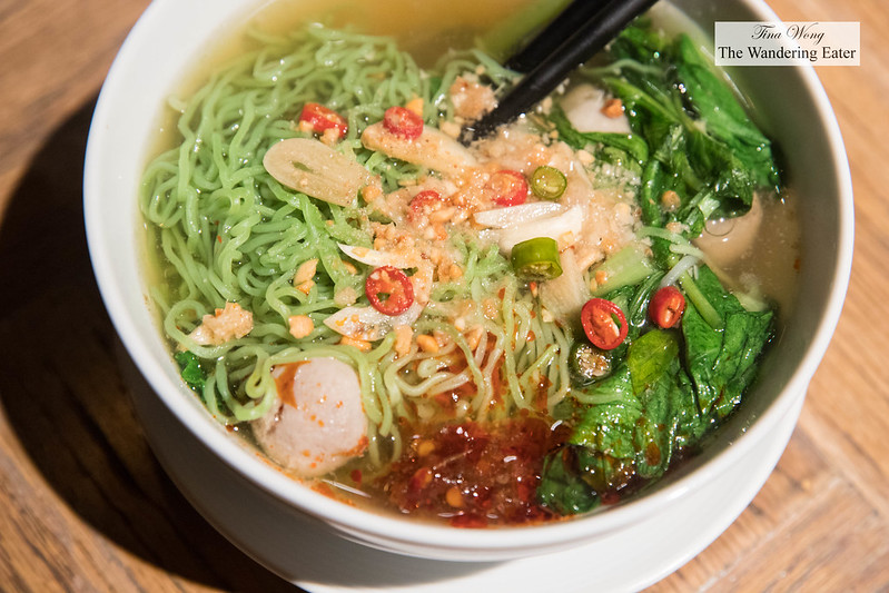 Jade egg noodles with fishball and vegetables