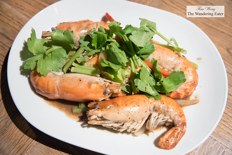 River prawns with garlic sauce and cilantro