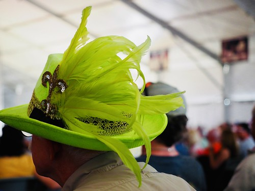 Green hat at Jazz Fest 2019. Photo by Michele Goldfarb.