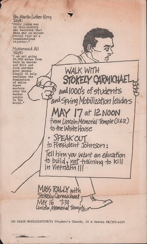 Antiwar walk with Stokely Carmichael flyer: 1967 | by Washington Area Spark