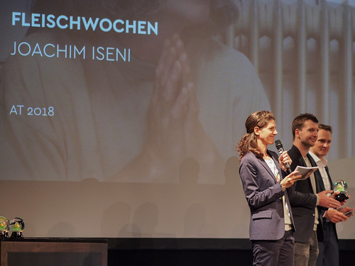 CE19 – awards ceremony //  Moderator Karin Schmid, Marco Zinz (THE GRAND POST), Alexander Fischbacher  (THE GRAND POST) //  photo © Michael Straub / subtext.at