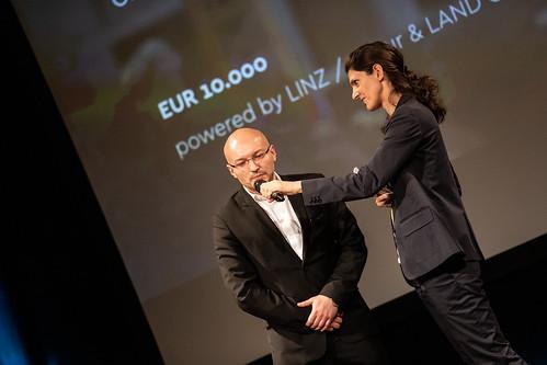 CE19 – awards ceremony // Almir Balihodzic (Councilman), Moderator Karin Schmid // photo © Michael Straub / subtext.at