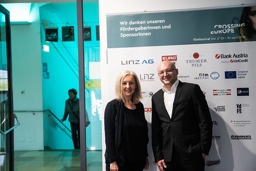 CE19 – awards ceremony // Christine Dollhofer (Festival Director), Almir Balihodzic (Councilman) // photo © Andreas Wörister / subtext.at