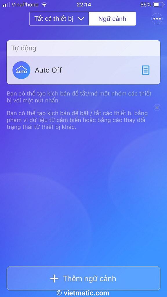 Ví dụ về điều khiển theo ngữ cảnh trên App eWelink